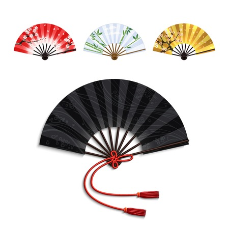 paper folding: Realistic traditional oriental open folding fans set isolated vector illustration Illustration