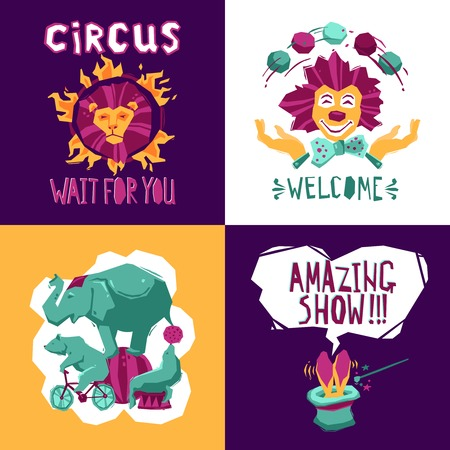 circus caravan: Circus design concept set with clown animals and magician icons isolated vector illustration