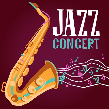 Jazz music concert promo poster with saxophone flat vector illustration