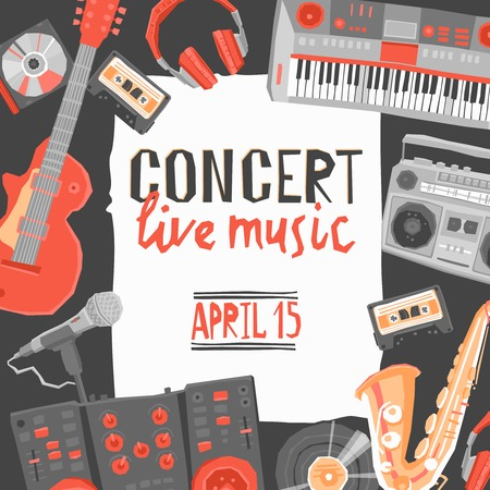 live music: Music live concert poster with flat musical instruments vector illustration