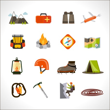 turismo: Montañismo y turismo de aventura extrema iconos planos conjunto aislado ilustración vectorial