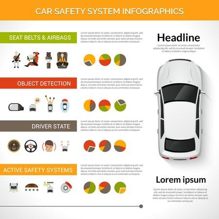 enfant banc: s�curit� de voiture infographie syst�me pilote de contr�le de la condition pr�vue avec des graphiques illustration vectorielle