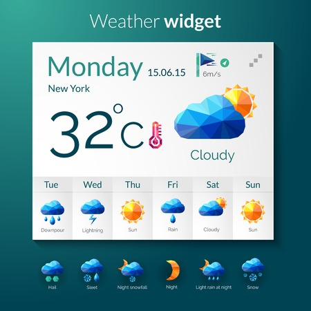 widget: Weather forecast widget with polygonal mobile application elements vector illustration Illustration
