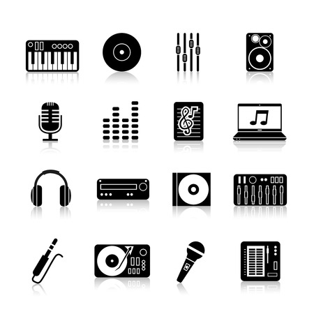 dj equipment: Dj equipment icons black set with keyboard vinyl mixer loudspeaker isolated vector illustration