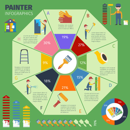 Home painting remodeling maintenance and improvement tasks infographic circle chart presentation report print poster abstract vector illustration