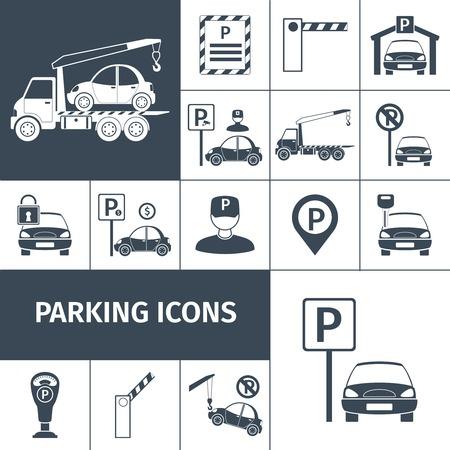 Parkeerplaats faciliteiten zwarte decoratieve pictogrammen instellen geïsoleerde vector illustratie