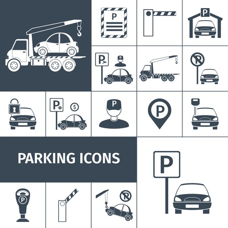 parking facilities: Parking lot facilities black decorative icons set isolated vector illustration