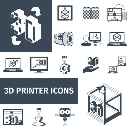 machining: Printer with 3d technologies black decorative icons set isolated vector illustration Illustration