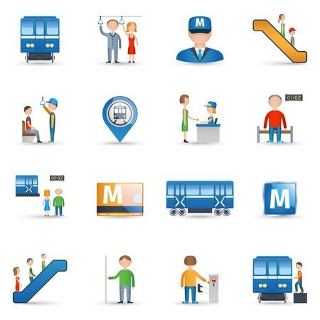 Subway metro underground public transport icons set isolated vector illustration Vector