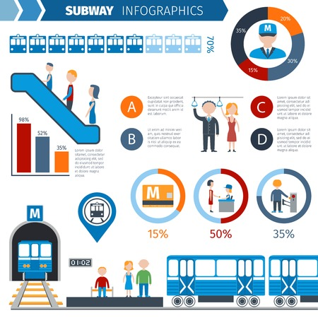 public transportation: Subway infographics set with underground public transport symbols and charts vector illustration