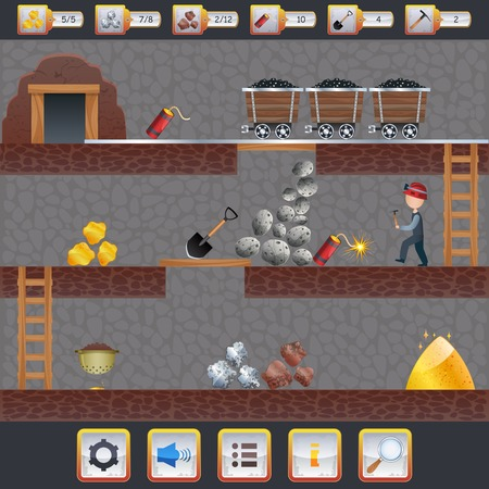 web design bridge: Mining game treasure hunt interface with assets signs and miner vector illustration