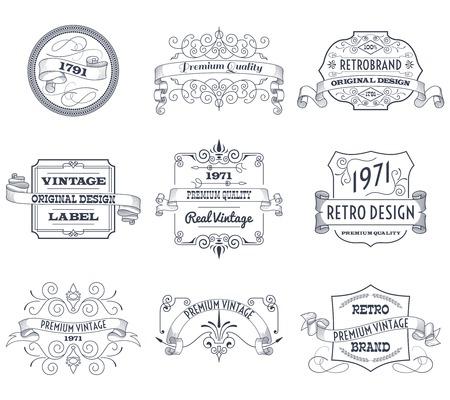 Vintage retro design premium quality business labels set isolated vector illustration Vector