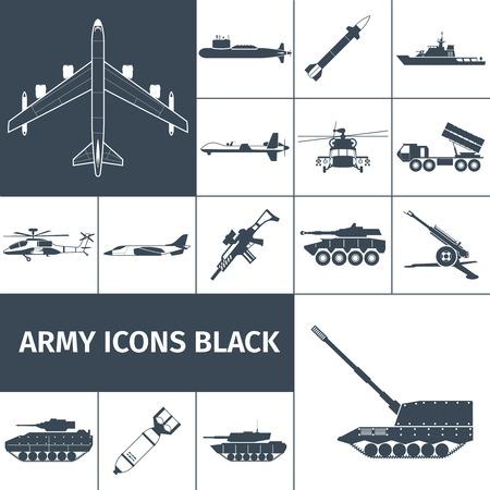 tanque de guerra: Arma Ej�rcito iconos conjunto negro con aislados helic�ptero rifle de aviones caza a reacci�n ilustraci�n vectorial