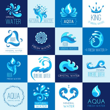 mineral: Fresh clear spring mineral water emblems set isolated vector illustration