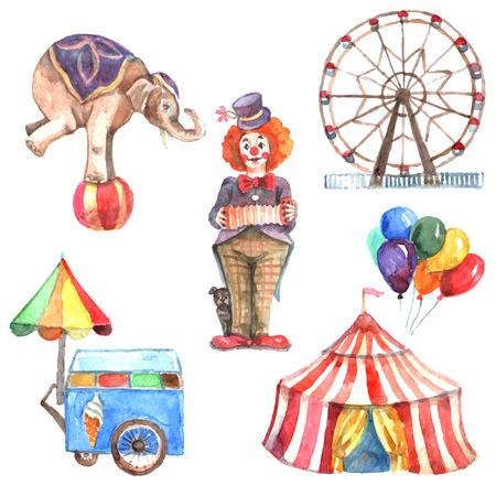 Aquarel circus decoratieve pictogrammen instellen met olifant clown en reuzenrad geïsoleerde vector illustratie