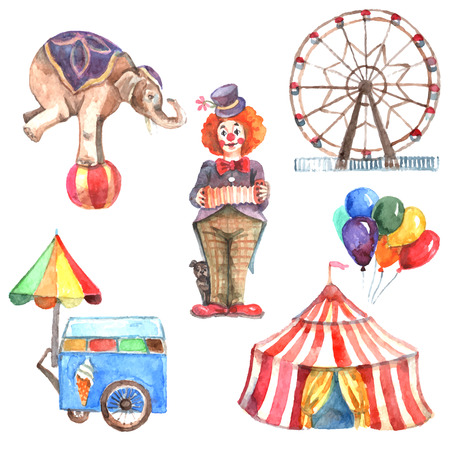 circus performer: Watercolor circus decorative icons set with elephant clown and ferris wheel isolated vector illustration