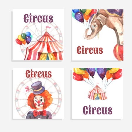 circus caravan: Circus card set with watercolor animals balloons and clown isolated vector illustration