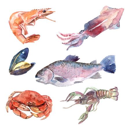 Conjunto de mariscos de acuarela con mejillones camarones pescado cangrejo aislado ilustración vectorial