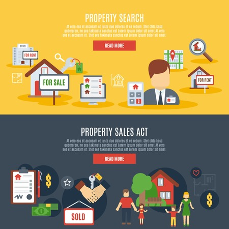 commercial property: Real estate horizontal banner set with property search and sales act elements isolated vector illustration
