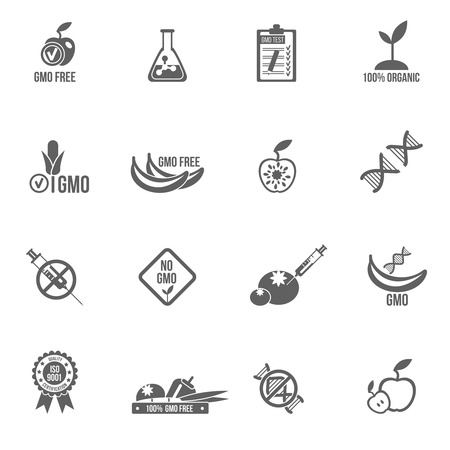 genetic: Gmo icons black set with healthy agriculture genetic danger symbols isolated vector illustration