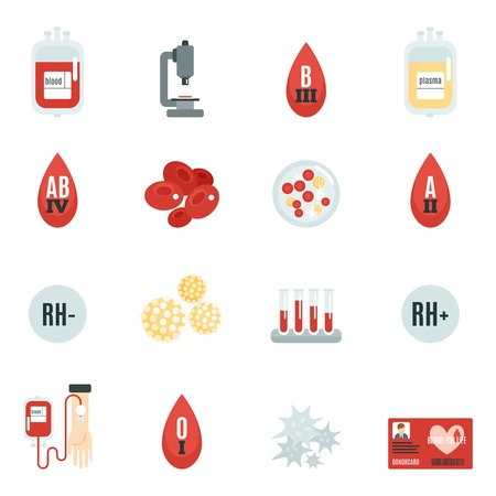 Blood donor banking and transfusion icons flat set isolated vector illustration Vector