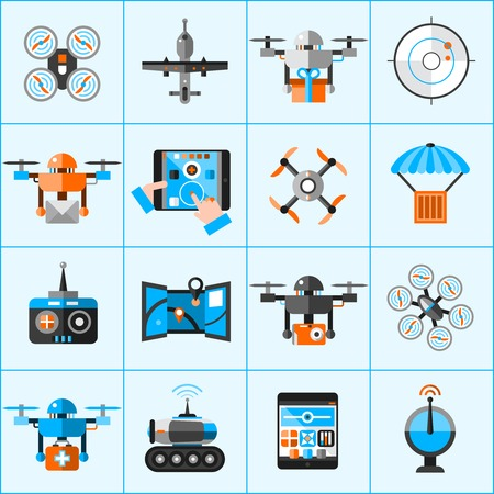 surveillance camera: Drone automatic flying surveillance camera icons set isolated vector illustration