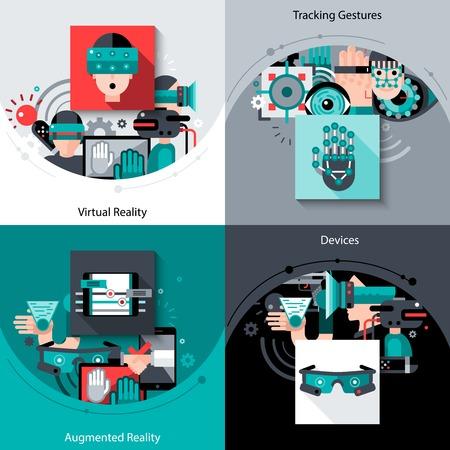 Concept de réalité augmentée virtuel définir avec les appareils de gestes de suivi icônes plates isolé illustration vectorielle