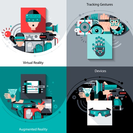 virtual: Virtual augmented reality design concept set with tracking gestures devices flat icons isolated vector illustration