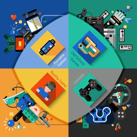 player controls: Video games design concept set with portable old school reality and console flat icons isolated vector illustration Illustration