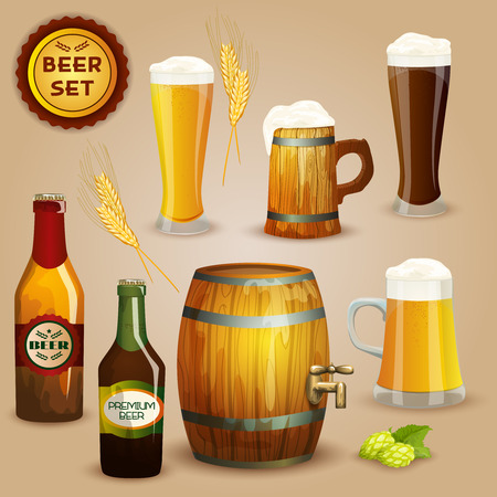 Premium beer foam head glasses and  wooden mug and barrel icons composition advertisement poster abstract vector illustration Illustration