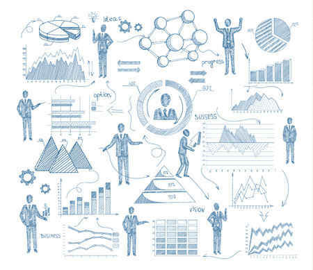 business scene: Business management concept with sketch people and charts vector illustration