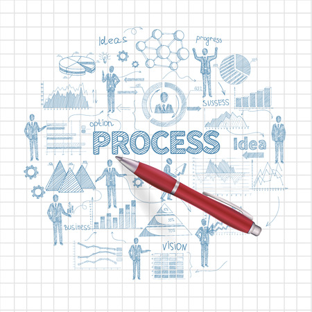Business process concept with sketch people on squared paper background and realistic pen vector illustration