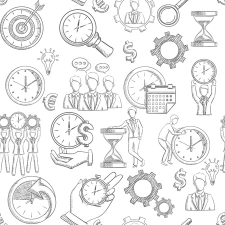 money time: Time management seamless pattern with sketch planning strategy elements vector illustration
