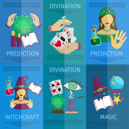 prediction: Fortune teller mini poster set with witchcraft magic prediction and divination promo isolated vector illustration Illustration