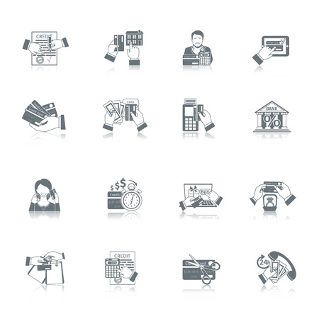 Credit life black icon set with money payment and finance symbols isolated vector illustration