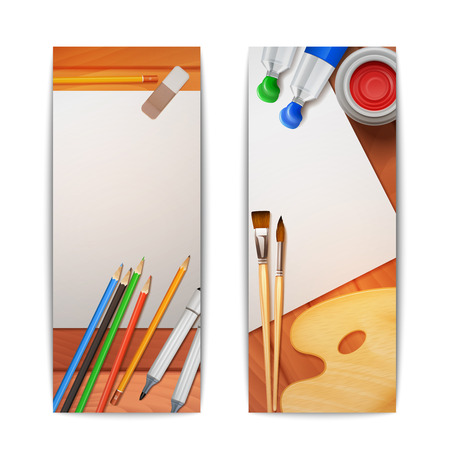 Drawing banners vertical set with painter tools and paper on wooden background isolated vector illustration