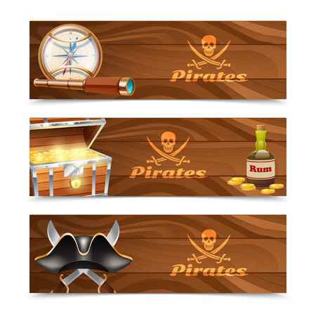 cocked hat: Three horizontal wooden pirate banners with jolly roger rum treasure chest looking glass gold compass and cocked hat isolated vector illustration