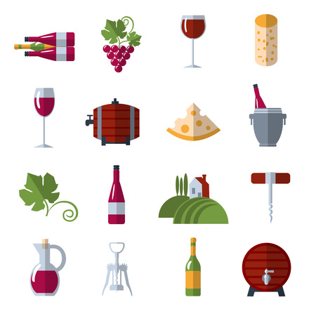 bottle opener: Wine growing production and consumption flat icons set with warehouse barrels and grape abstract vector isolated illustration Illustration
