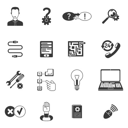 Black and white call center computer remote support icon set isolated vector illustration Vector Illustration