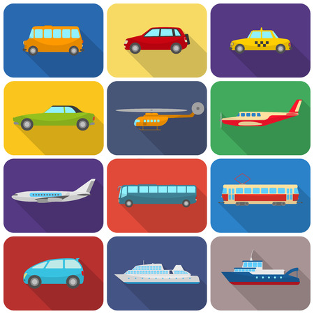 transportation: Multicolored drawn transport types icons flat isolated vector illustration Illustration