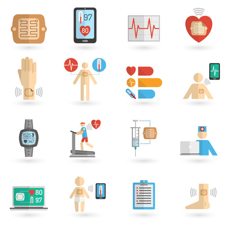 blood pressure monitor: Multicolored wearable smart electronic patch isolated flat icons vector illustration Illustration