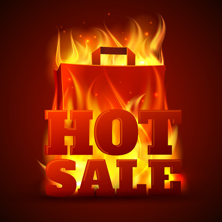 flame: Hot sales department store outdoor advertisement billboard banner with glowing text in flames poster abstract vector illustration