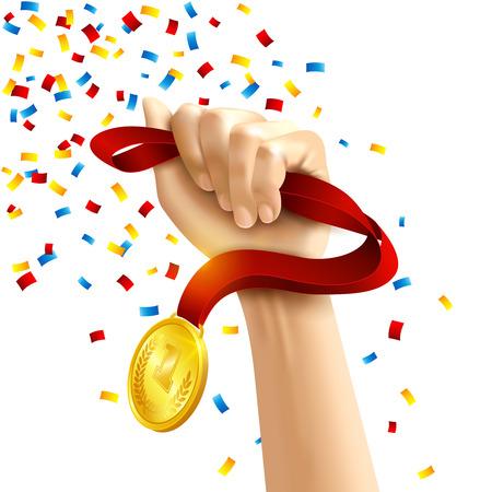 goldmedaille: Hand, die eine Gewinner-Medaille in mehreren farbigen Konfetti-Konzept Vektor-Illustration