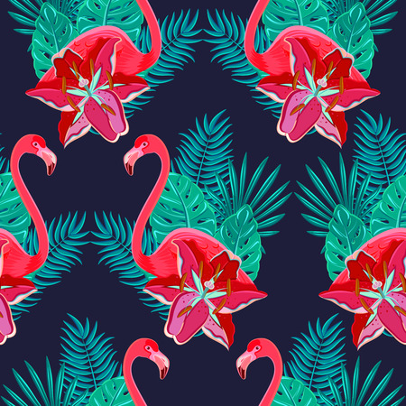 flamenco ave: Pájaros del flamenco y hibisco tropical flores brillantes follaje tropical colorido composición modelo inconsútil hawaiano resumen ilustración vectorial