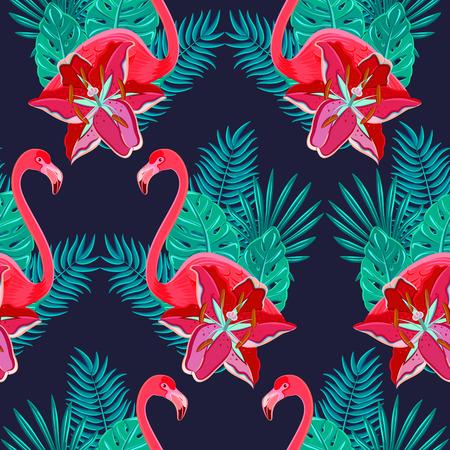 ave del paraiso: P�jaros del flamenco y hibisco tropical flores brillantes follaje tropical colorido composici�n modelo incons�til hawaiano resumen ilustraci�n vectorial