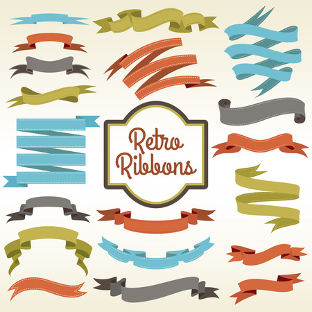 nostalgic: Retro ribbons trims cuttings curled pieces arrangement composition notions store nostalgic advertisement poster print abstract vector illustration