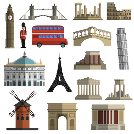 amphitheatre: World travel historical landmarks sightseeing bus tours flat icons set with tower bridge abstract isolated  vector illustration