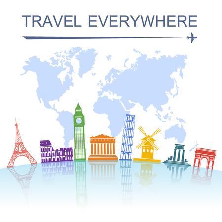 agencia de viajes: Agencia de viajes espectacular concepto excursiones de turismo emblemáticos de todo el mundo del cartel con la torre italiana de Pisa ilustración vectorial abstracto