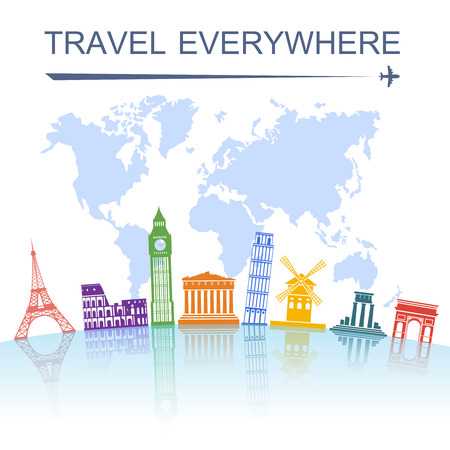 travel destination: Travel agency spectacular worldwide sightseeing landmark tours concept poster with italian tower of pisa abstract vector illustration