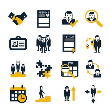Human resources personnel selection strategy and team work collaboration management black icons collection abstract isolated vector illustration Illustration